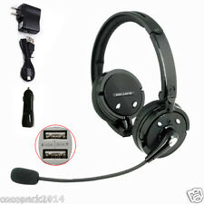 Blue Tiger A2DP Noise Cancelling Bluetooth Headset Mic F Trucker PS3 Car Charger