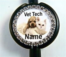 ID STETHOSCOPE NAME TAG BLING VET TECH SWEETIES, PUPPIES NURSE,RN,MEDICAL,ER,LVN