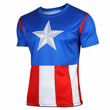 Mens Compression Marvel Superhero T-Shirt Gym Sport Jersey Tee Fitness Slim Tops