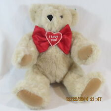 """Vermont Teddy Bear Valentine 15"""" Tan jointed Snap on red I Love You bow velvet"""