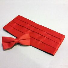 Cummerbund & Bow Tie Set, Red Satin-Look Unisex Tux Cumberbund Tie Combo, NEW