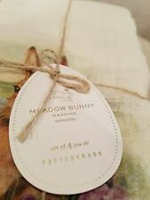 Pottery Barn Easter Meadow Bunny Napkins New Set of Four Spring Pasture
