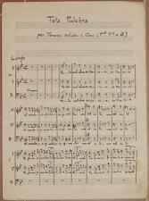 TOTA PULCHRA SPARTITO MANOSCRITTO TENORE SOLISTA BASSO CORO PIANOFORTE PIANO