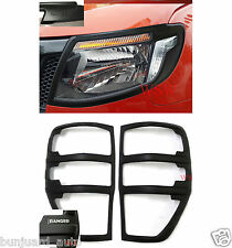 Ford Ranger T6 Raptor Matte Black Front & Rear Head Lamp Tail Light Cover 12-15