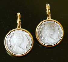 Yellow Gold plated 24K Dangle Earrings British Queen Elizabeth Silver Coin