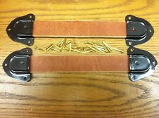 Antique Trunk Handles-2 leather straps,4 trunk hardware Metal ends & nails-RRR