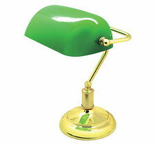 OFFICE TABLE DESKTOP BANKERS POLISHED BRASS CLASSIC LAMP LIGHT LIBRARY LAMP