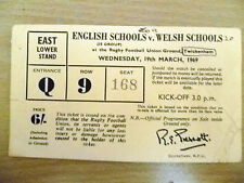 Ticket- 1969 ENGLISH SCHOOLS v WELSH SCHOOL at Rugby Football Union Ground