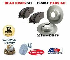 FOR NISSAN PRIMERA P11 1996-2002 NEW REAR 278mm BRAKE DISCS SET + DISC PAD KIT