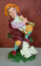"""Vintage Christmas Nativity Chalkware Hand Painted Shepherd Bagpipes Italy 4.5"""""""