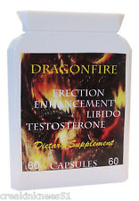 DRAGONFIRE MALE ERECTION & PENIS ENHANCEMENT CAPSULES 60 x 1000mg UK MANUFACTURE