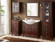 Badmöbelset Badmöbel Retro mit Waschbecken 85 cm Echtholz Massiv Badezimmermöbel