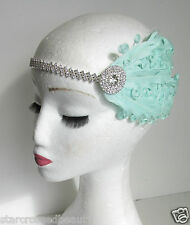 Silver Mint Green Feather Headpiece Fascinator Vintage 1920 Flapper Headband P48
