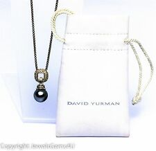 "David Yurman 11mm Tahitian Pearl Diamond Sterling Pendant Necklace 17.5"" w/Pouch"