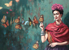 SUMPTUOUS COLOUR PHOTO  FRIDA KAHLO   A3 POSTER REPRINT 260GSM