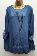 New Italian lagenlook Ladies Blue Tulip diamante tunic floral top 14 16 18 20 22
