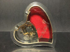 SANKYO JAPAN HEART SHAPED FOOTED LIDDED MUSIC / JEWELRY BOX! LOVE ACRYLIC UNIQUE