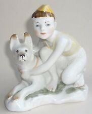 Vintage Soviet Russian LFZ porcelain Little Boy & Dog figurine made USSR