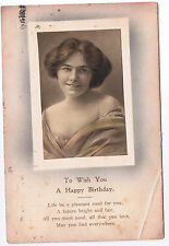To Wish You a Happy Birthday - Vintage Postcard - Young Woman Design 1922 Stamp