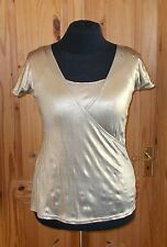 CMD metallic gold stretch crinkle wrap short sleeve tunic camisole top L 14-16