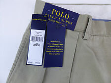Polo Ralph Lauren Pleated Classic Fit Cotton Twill Chino Khaki Pants  NWT $89.50