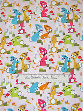 """Windham Fabric - Anna Griffin Easter Rabbits Carrots Forest Scene on Pink 24"""""""