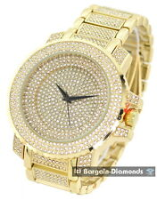big manly gold white CZ ice out dial case bracelet clubbing watch Techno