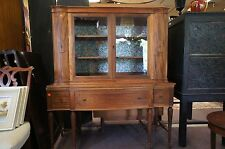 Antique Duncan Phyfe Style Hutch Cupboard Cabinet Glass Case Carved Legs Inlay