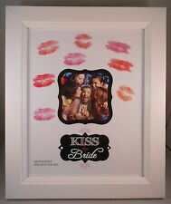 KISS THE BRIDE Wedding Photo Frame, Bridal or Bachelorette Party Lipstick Kisses