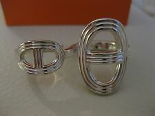 100% Authentic HERMES Chaine d'Ancre DOUBLE TWO FINGER Sterling Silver Ring! WOW