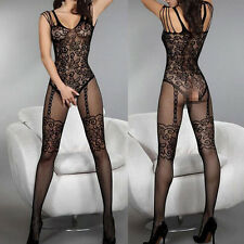 Sexy Women Fishnet Sheer Open Crotch Body Stocking Bodysuit Lingerie Dress
