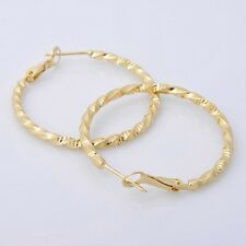 Fashion 14K Solid Yellow Gold Plated Hoop Style Womens Jewelry Earrings E031