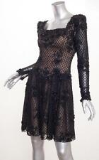 NOLAN MILLER COUTURE *VINTAGE* Black Lace Beaded Long-Sleeve Tulle Mesh Dress XS