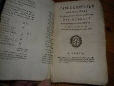1791 TABLE GENERALE DES MATIERES DES DECRETS DE L ASSEMBLEE NATIONALE