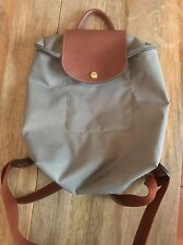 Used Long Champ Le Pliage Gray Steel Backpack