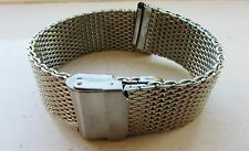 20mm Silver Coloured Shark Mesh Watch Band Bracelet Strap Double Clasp BNWOT
