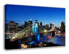 "BROOKLYN BRIDGE NEW YORK CITY SKYLINE NYC CANVAS WALL ART 30"" X 18"" (LARGE)"