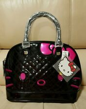 Hello Kitty Loungefly Large Dome Black Pink Patent Leather Bag Purse quilt NWT
