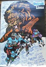 Detroit Lions Org.1968 Poster Autographed by 52 , 6 HOF, 19 Deceased 3 Heis+ COA