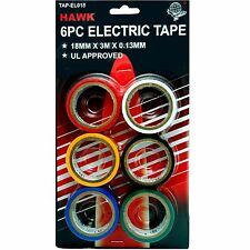 6pc Colored Electrical red white yellow black blue Green Tape - HAWK TAP-EL018