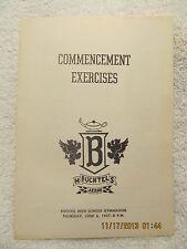 1957 Commencement Program Buchtel High School Akron Ohio W/Graduating Class Roll