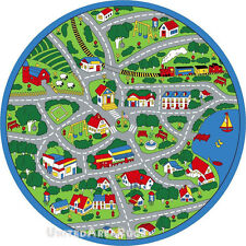 "8x8 Round Rug Play Road Driving Time Street Car Kids City Fun Time Size 7'7"" New"