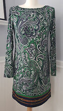 MICHAEL KORS Paisley Heritage Print Jersey Stretch Long Sleeve Dress Medium M