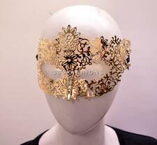 MASQUERADE BURLESQUE METAL FLORAL HALF FACE LASER CUT OUT EYE SELF TIE MASK