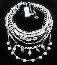 BCBGeneration Nice Ice Faux-Pearl Convertible Multi  Chain Drama Necklace  $88