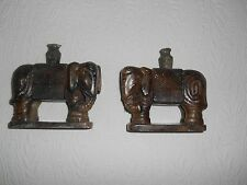 Antique Jade elephant bookends. Green and brown