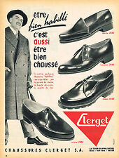 PUBLICITE ADVERTISING 124  1955  CLERGET  chaussures homme habillé