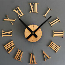 Roman Numerals 3D Wall Clock Large Size Mirrors Surface Luxury Art Clock