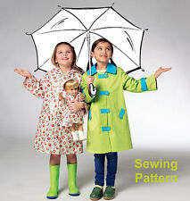 "Kwik Sew K3941 Pattern Children's & 18"" Doll Raincoats XXS-L BN"