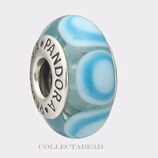 Authentic Pandora Sterling Silver Murano Blue Stepping Stones Bead 790914